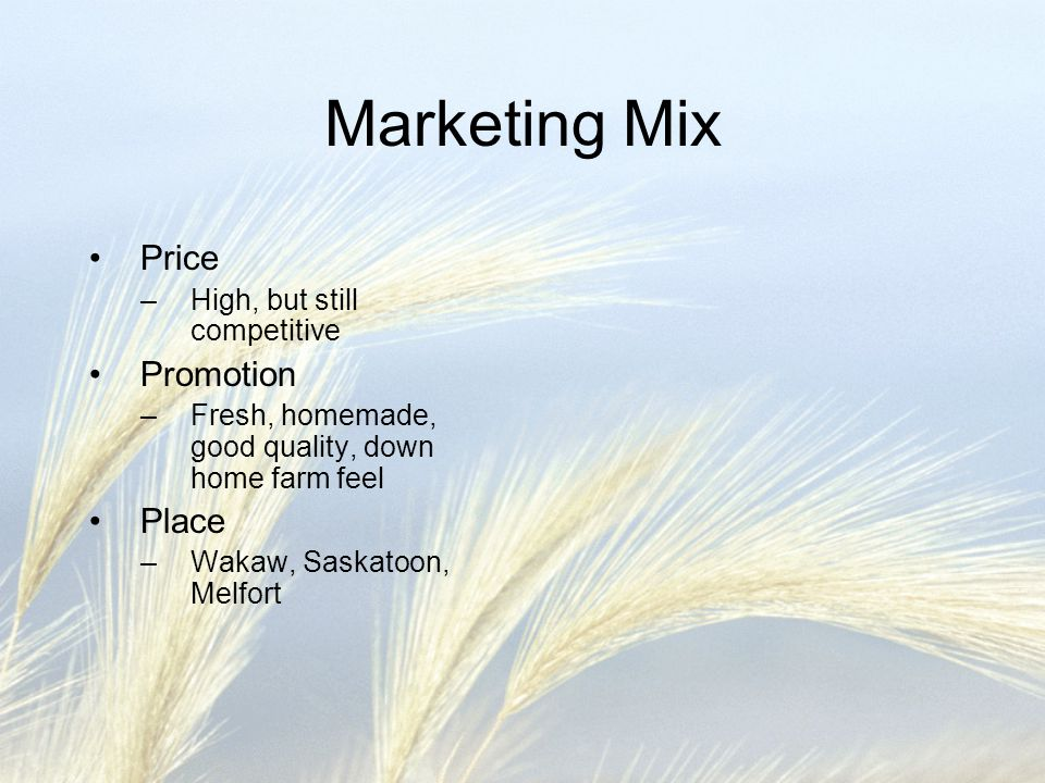 Marketing Mix Price Promotion Place High, but still competitive
