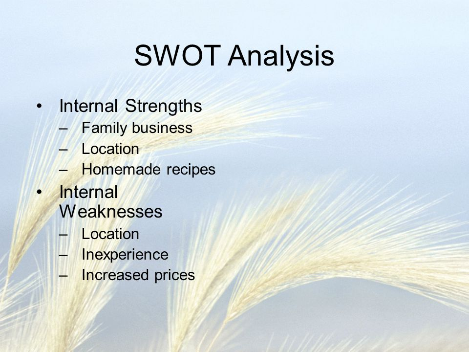 SWOT Analysis Internal Strengths Internal Weaknesses Family business