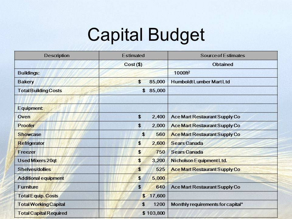 Capital Budget Description Estimated Source of Estimates Cost ($)