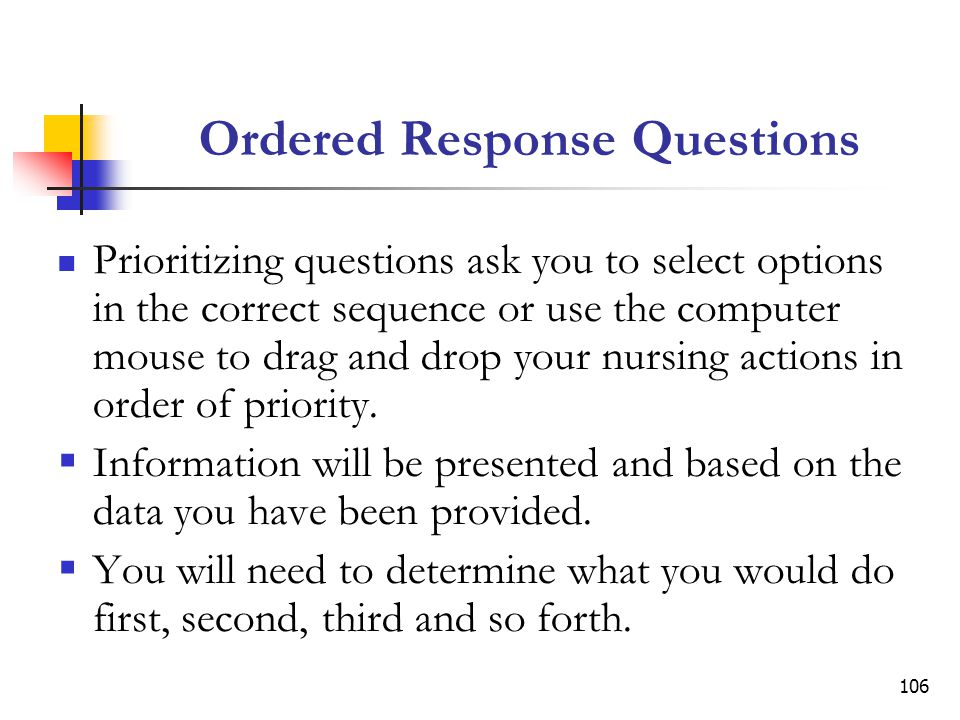 Ordered Response Questions