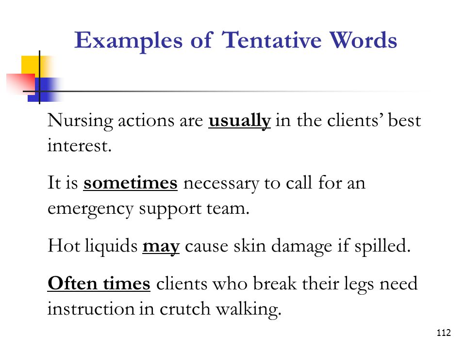 Examples of Tentative Words