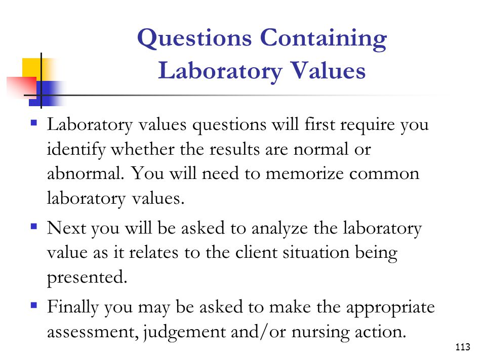 Questions Containing Laboratory Values
