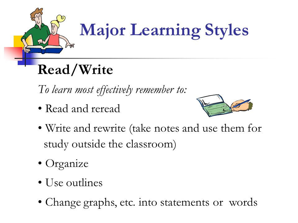 Major Learning Styles Read/Write