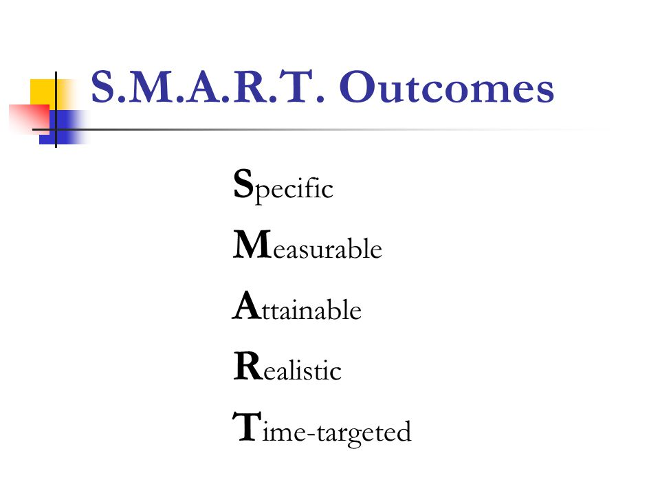 S.M.A.R.T. Outcomes Specific Measurable Attainable Realistic