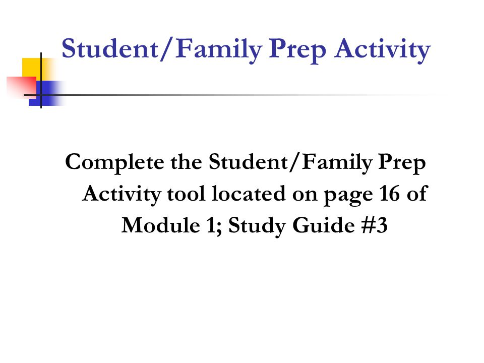 Student/Family Prep Activity