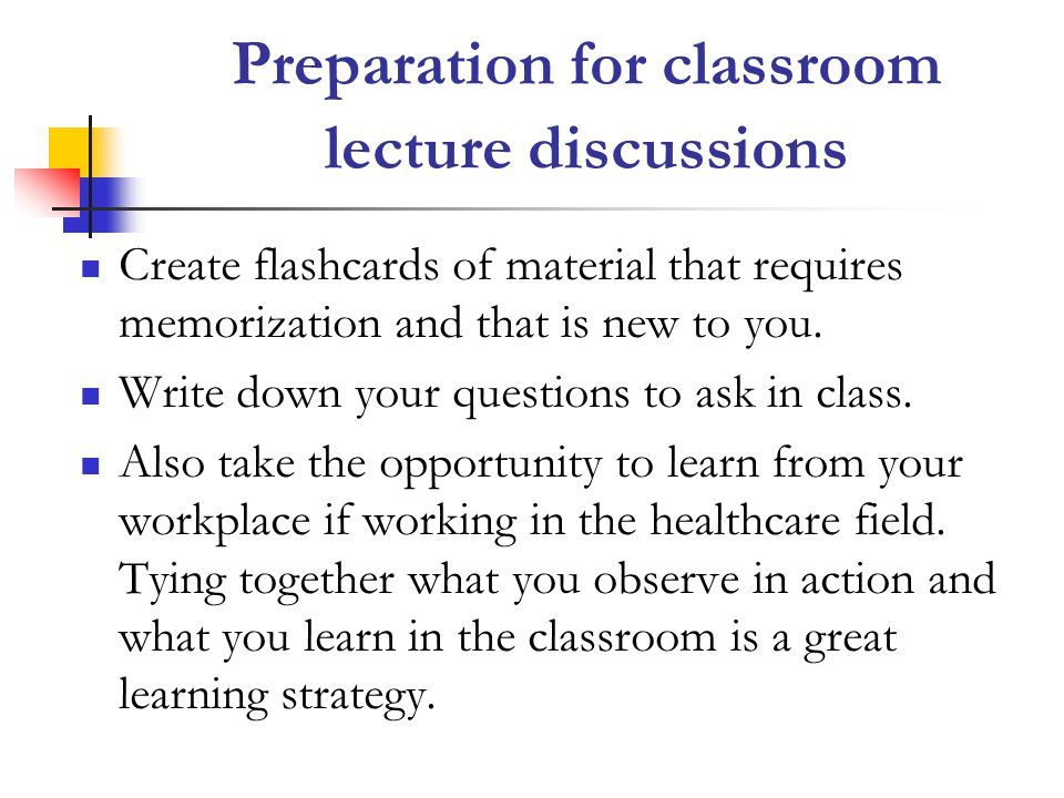Preparation for classroom lecture discussions