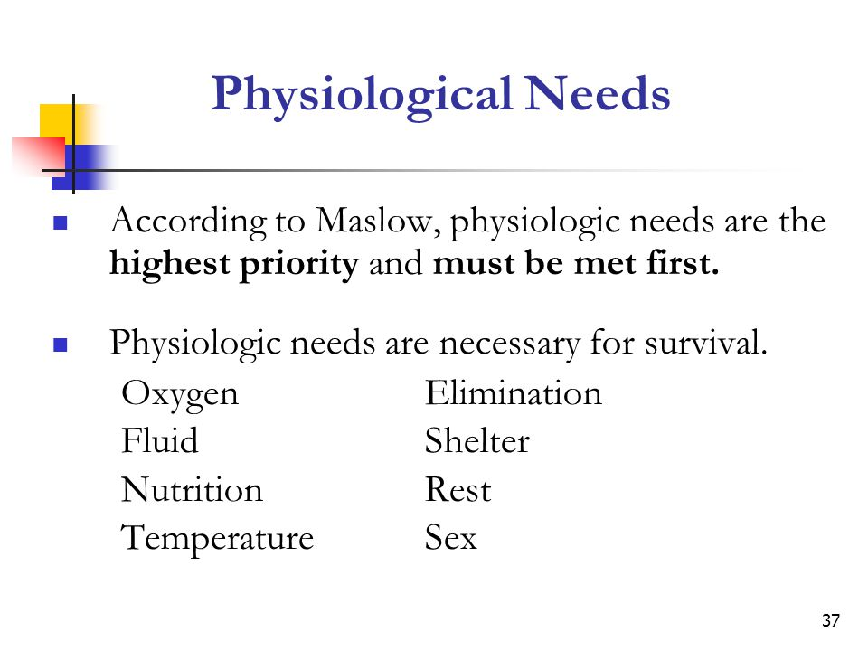 Physiological Needs According to Maslow, physiologic needs are the highest priority and must be met first.