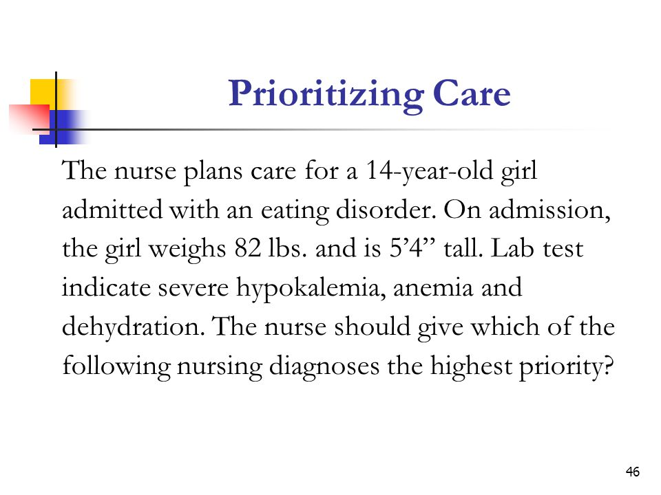 Prioritizing Care The nurse plans care for a 14-year-old girl
