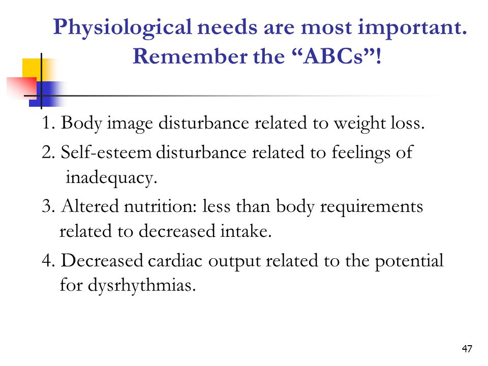 Physiological needs are most important. Remember the ABCs !