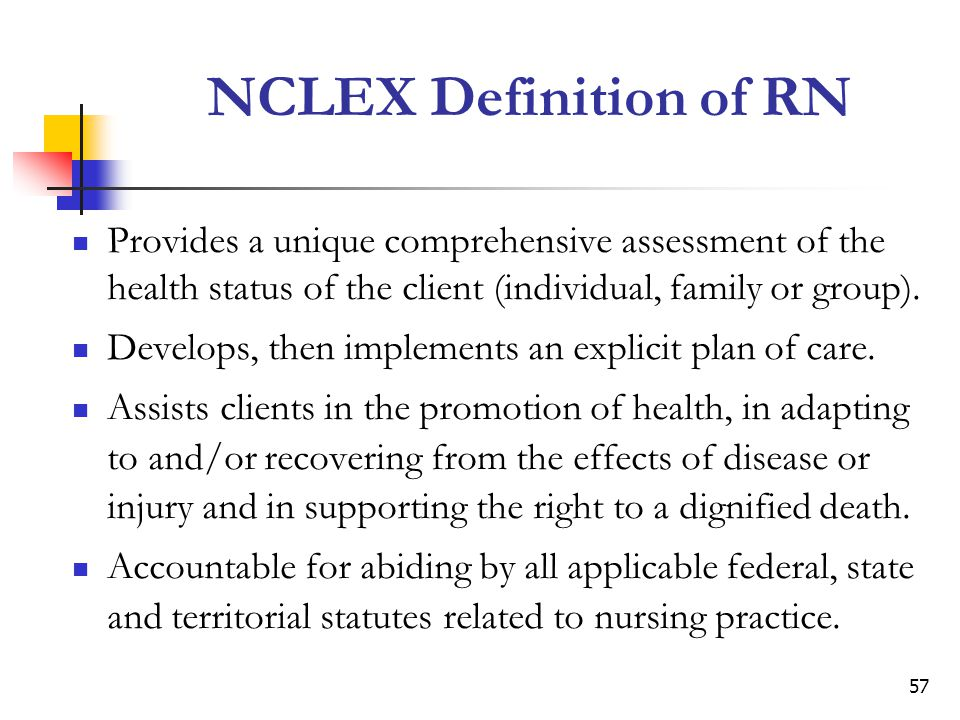 NCLEX Definition of RN Provides a unique comprehensive assessment of the health status of the client (individual, family or group).