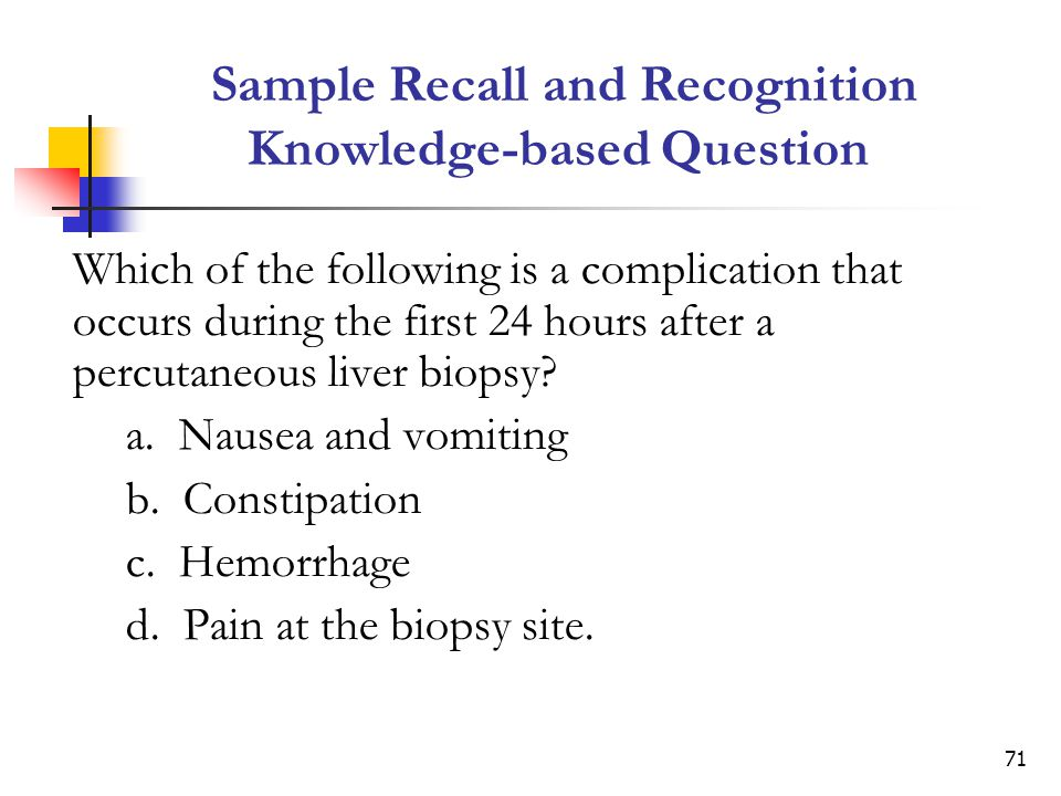 Sample Recall and Recognition Knowledge-based Question