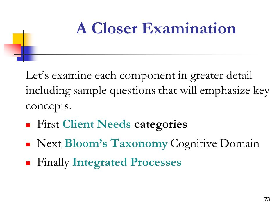 A Closer Examination Let's examine each component in greater detail including sample questions that will emphasize key concepts.