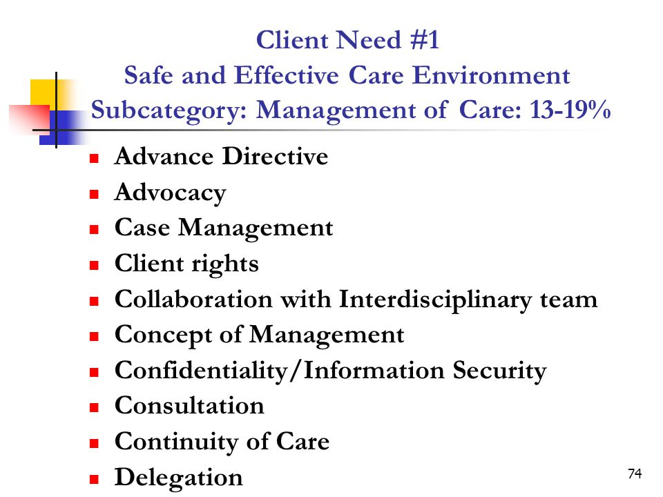 Client Need #1 Safe and Effective Care Environment Subcategory: Management of Care: 13-19%