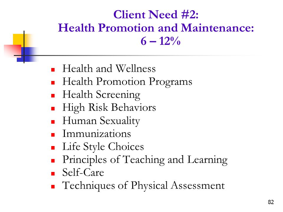 Client Need #2: Health Promotion and Maintenance: 6 – 12%