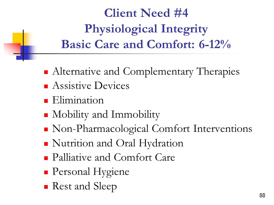 Client Need #4 Physiological Integrity Basic Care and Comfort: 6-12%