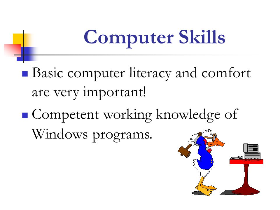 Computer Skills Basic computer literacy and comfort are very important.