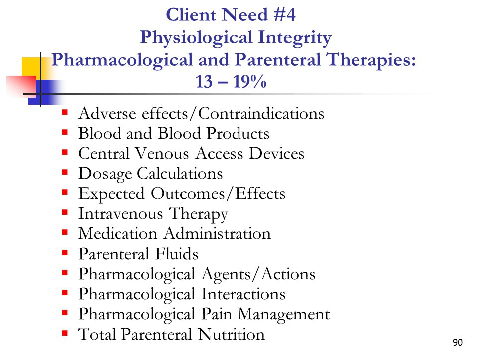 Client Need #4 Physiological Integrity Pharmacological and Parenteral Therapies: 13 – 19%