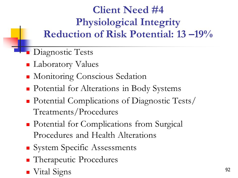 Client Need #4 Physiological Integrity Reduction of Risk Potential: 13 –19%