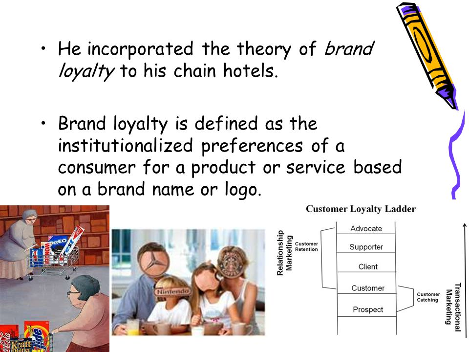 He incorporated the theory of brand loyalty to his chain hotels.