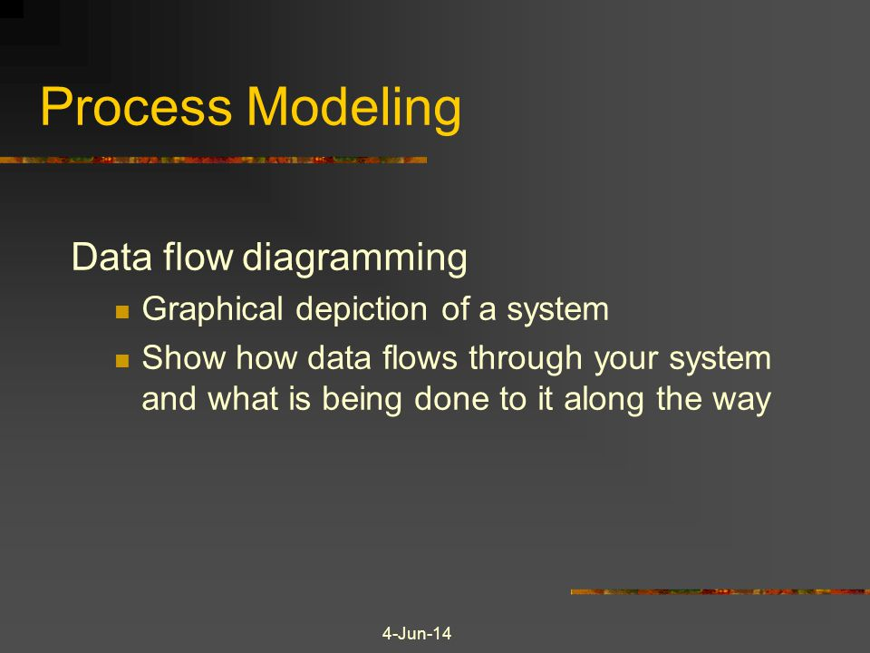 Process Modeling Data flow diagramming Graphical depiction of a system