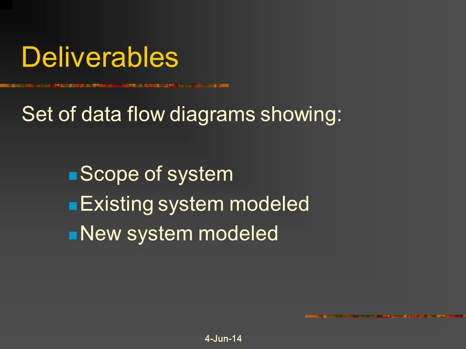 Deliverables Set of data flow diagrams showing: Scope of system