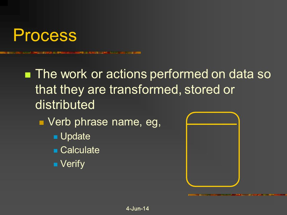 Process The work or actions performed on data so that they are transformed, stored or distributed. Verb phrase name, eg,