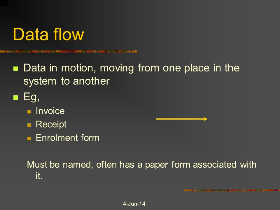 Data flow Data in motion, moving from one place in the system to another. Eg, Invoice. Receipt. Enrolment form.