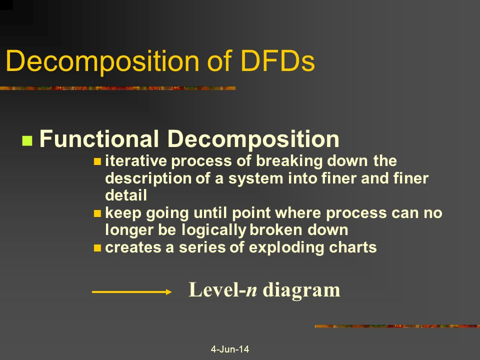 Decomposition of DFDs Functional Decomposition Level-n diagram