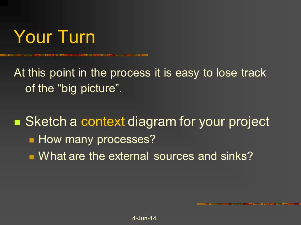 Your Turn Sketch a context diagram for your project