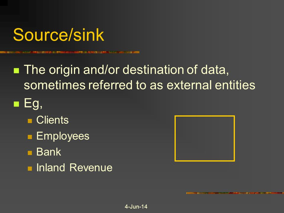 Source/sink The origin and/or destination of data, sometimes referred to as external entities. Eg,