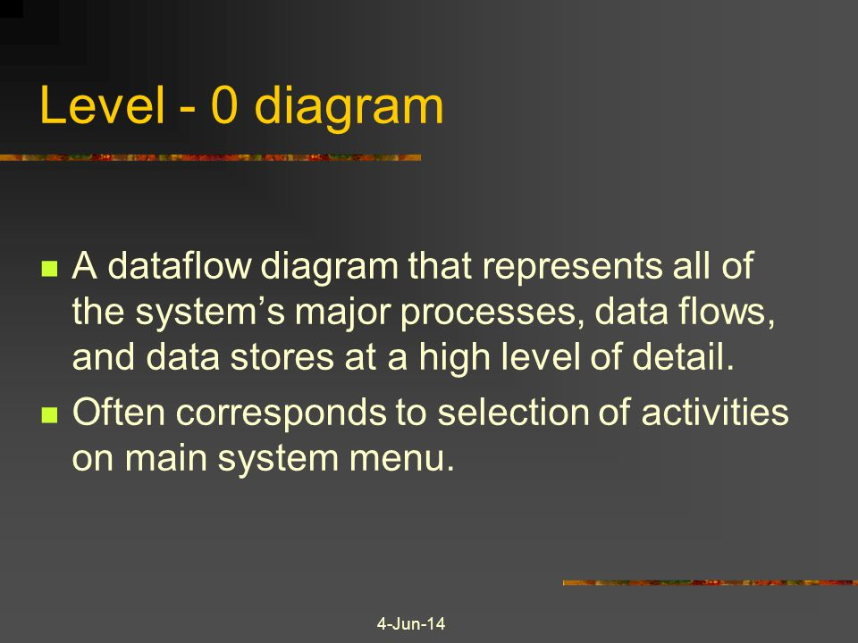 Level - 0 diagram A dataflow diagram that represents all of the system's major processes, data flows, and data stores at a high level of detail.