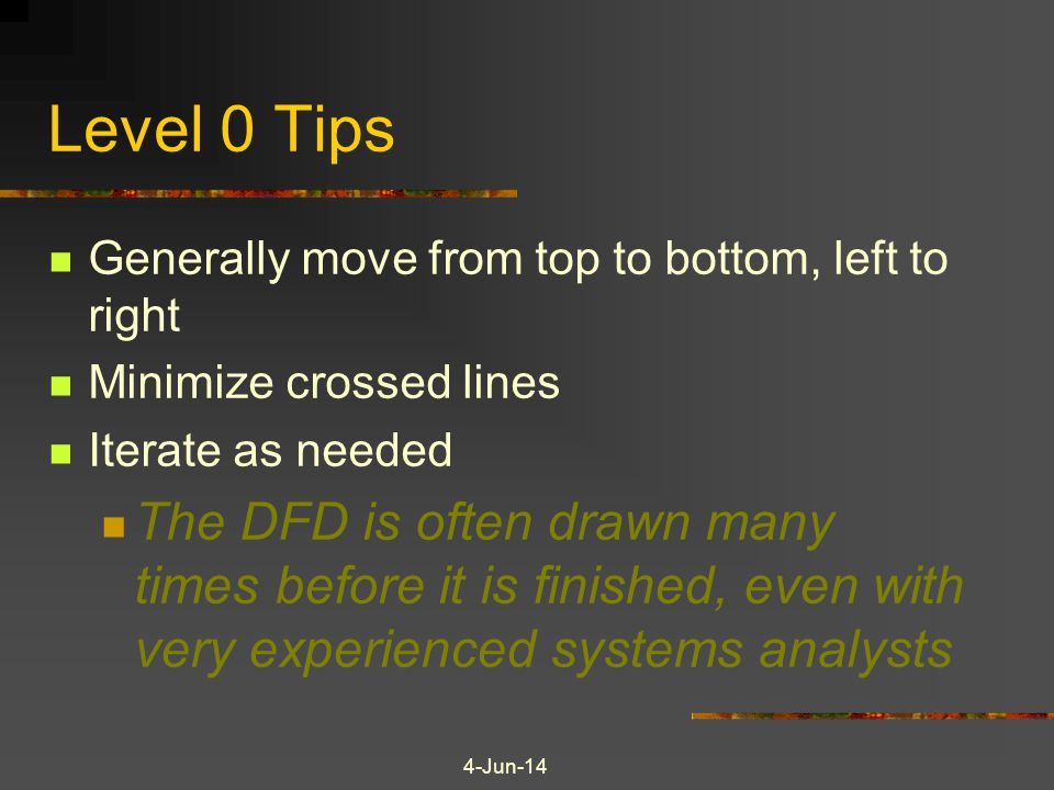Level 0 Tips Generally move from top to bottom, left to right. Minimize crossed lines. Iterate as needed.