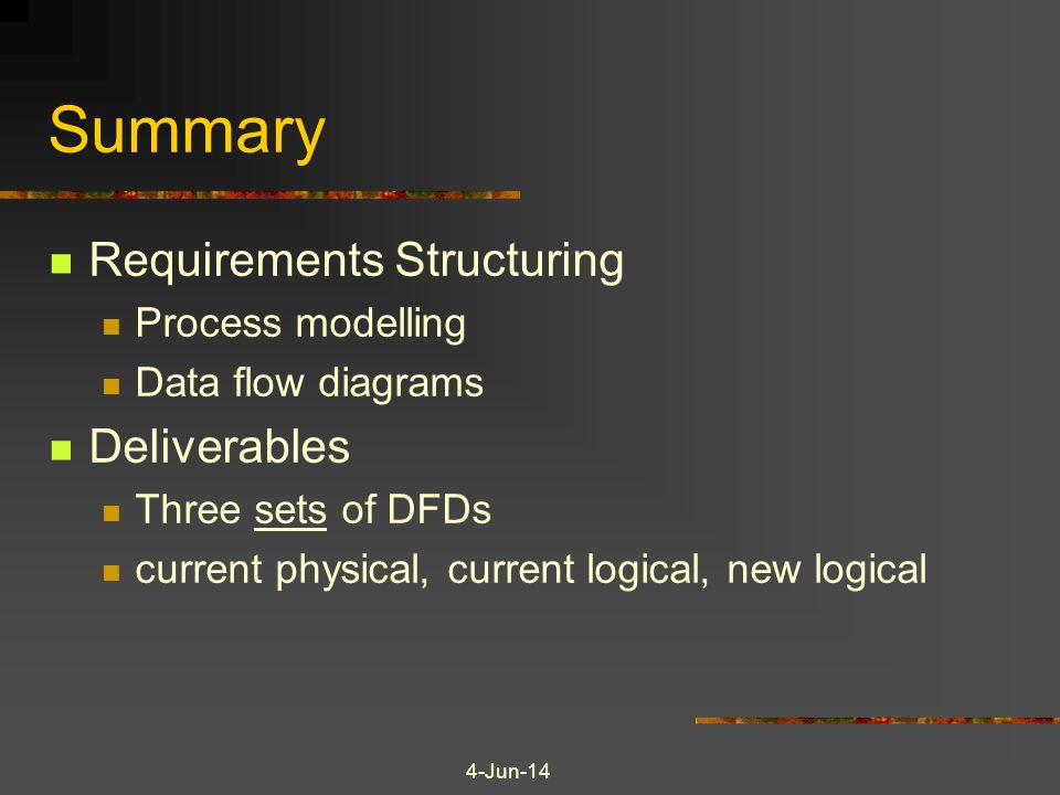 Summary Requirements Structuring Deliverables Process modelling