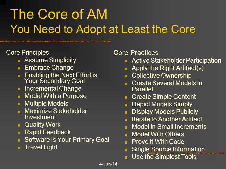 The Core of AM You Need to Adopt at Least the Core