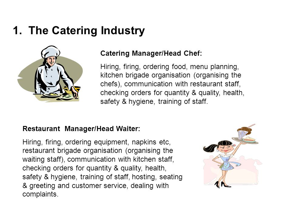 1. The Catering Industry Catering Manager/Head Chef: