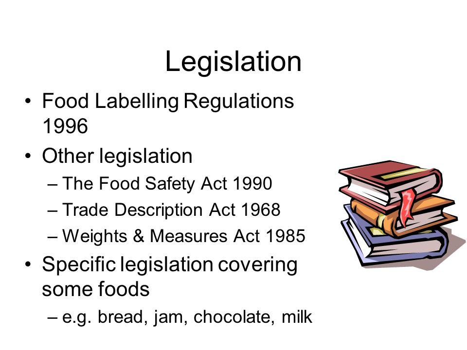 Legislation Food Labelling Regulations 1996 Other legislation