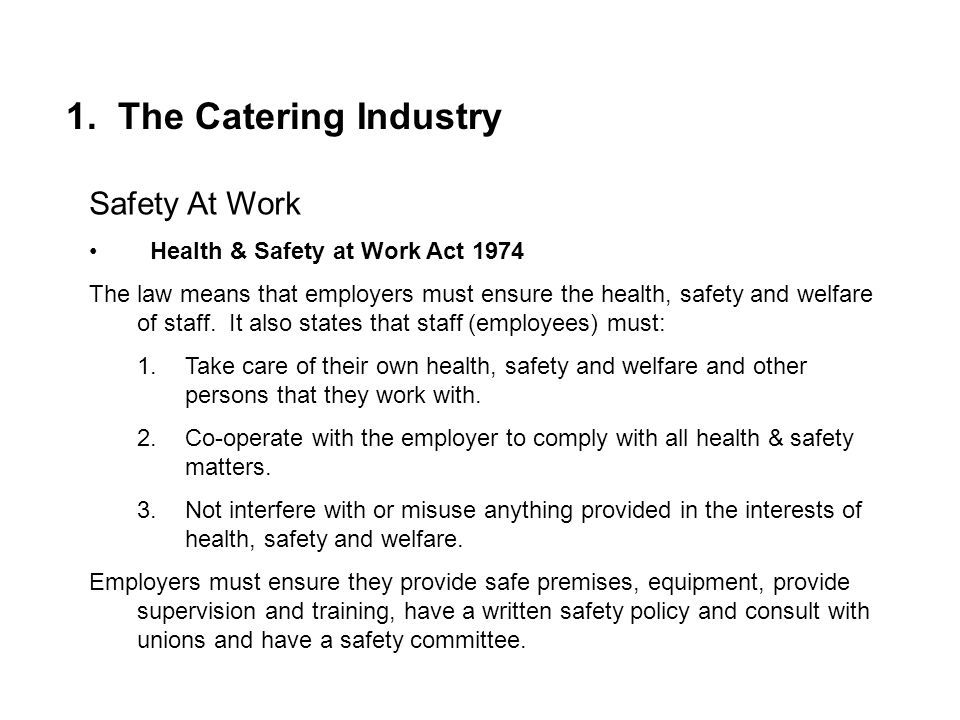 1. The Catering Industry Safety At Work