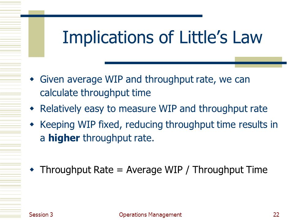 Implications of Little's Law
