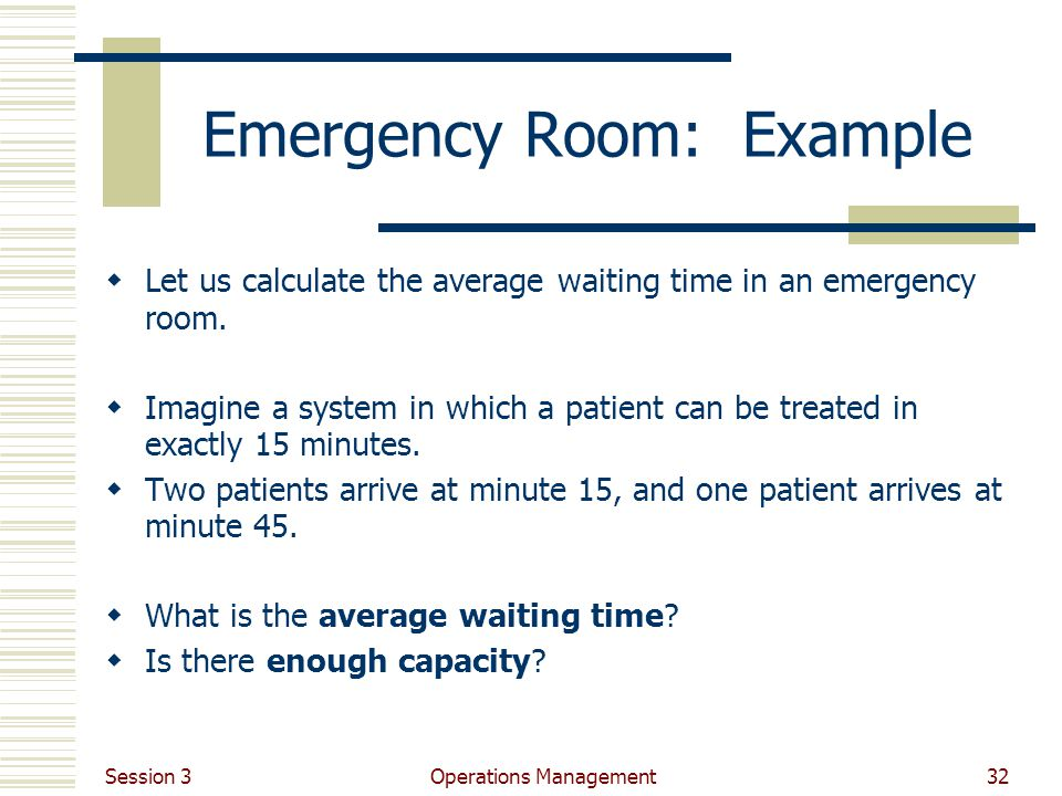 Emergency Room: Example