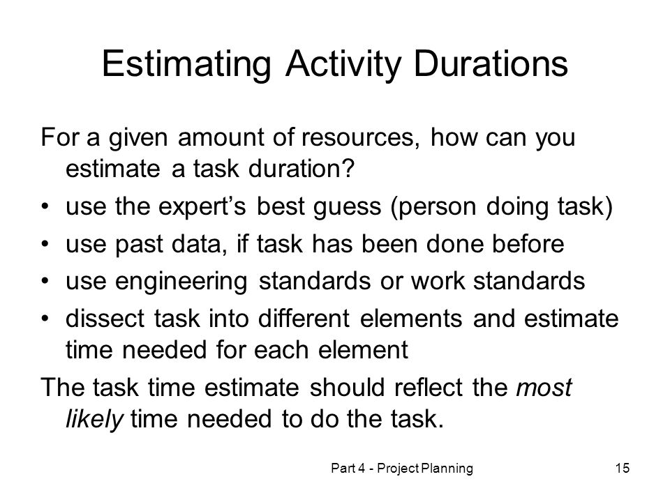 Estimating Activity Durations
