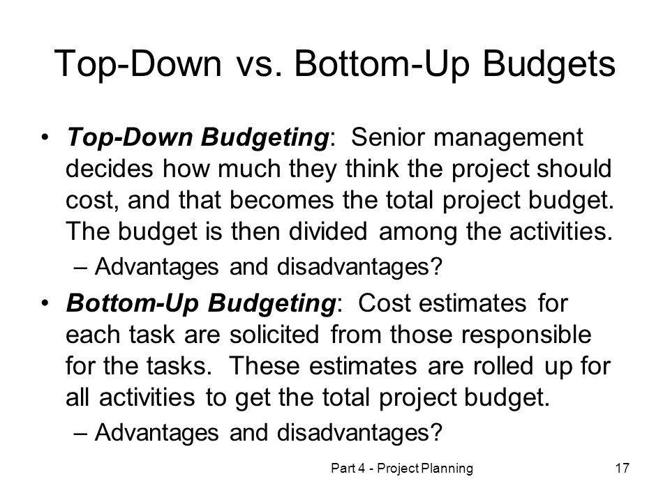 budget up managment project bottom
