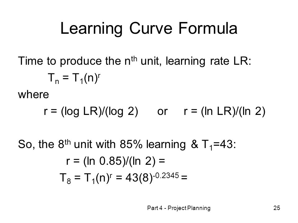 Learning Curve Formula