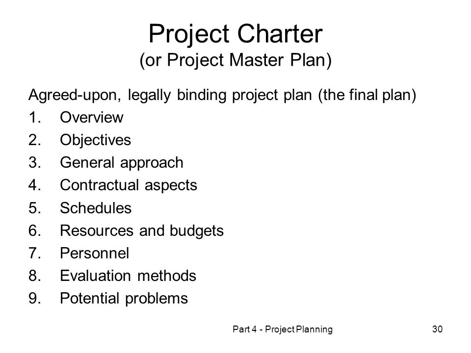 Project Charter (or Project Master Plan)