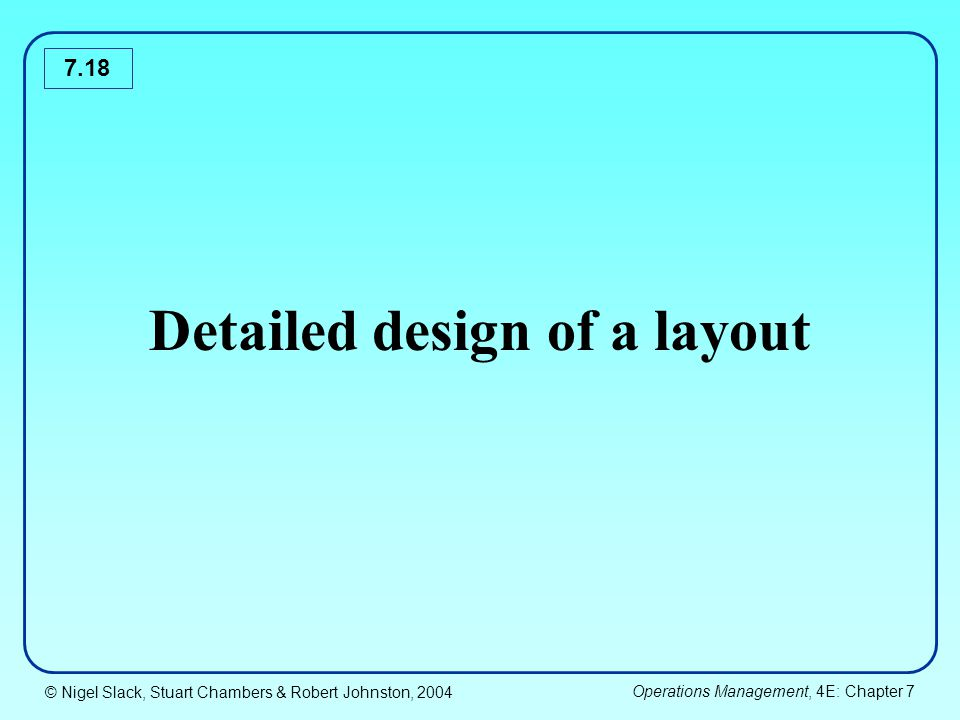 Detailed design of a layout
