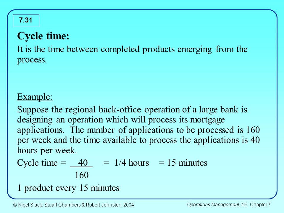 Cycle time: It is the time between completed products emerging from the process. Example: