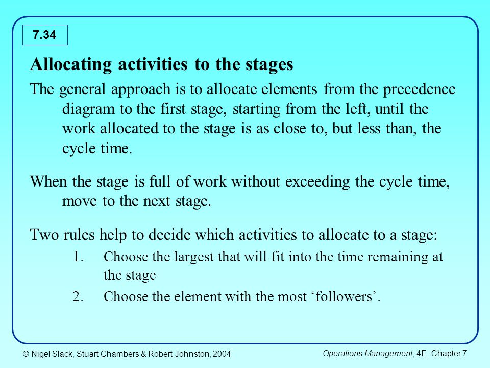 Allocating activities to the stages