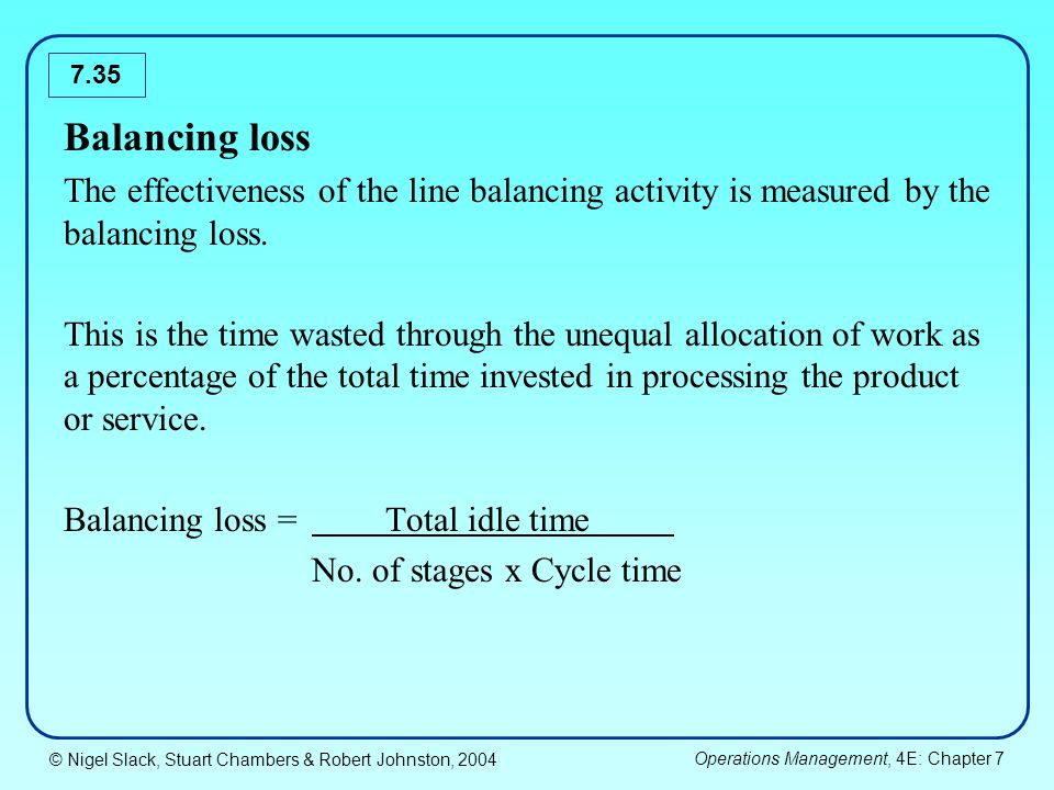 Balancing loss The effectiveness of the line balancing activity is measured by the balancing loss.