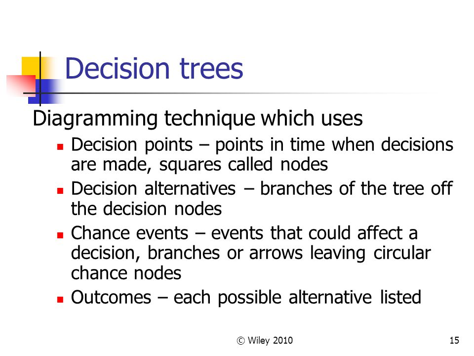 Decision trees Diagramming technique which uses