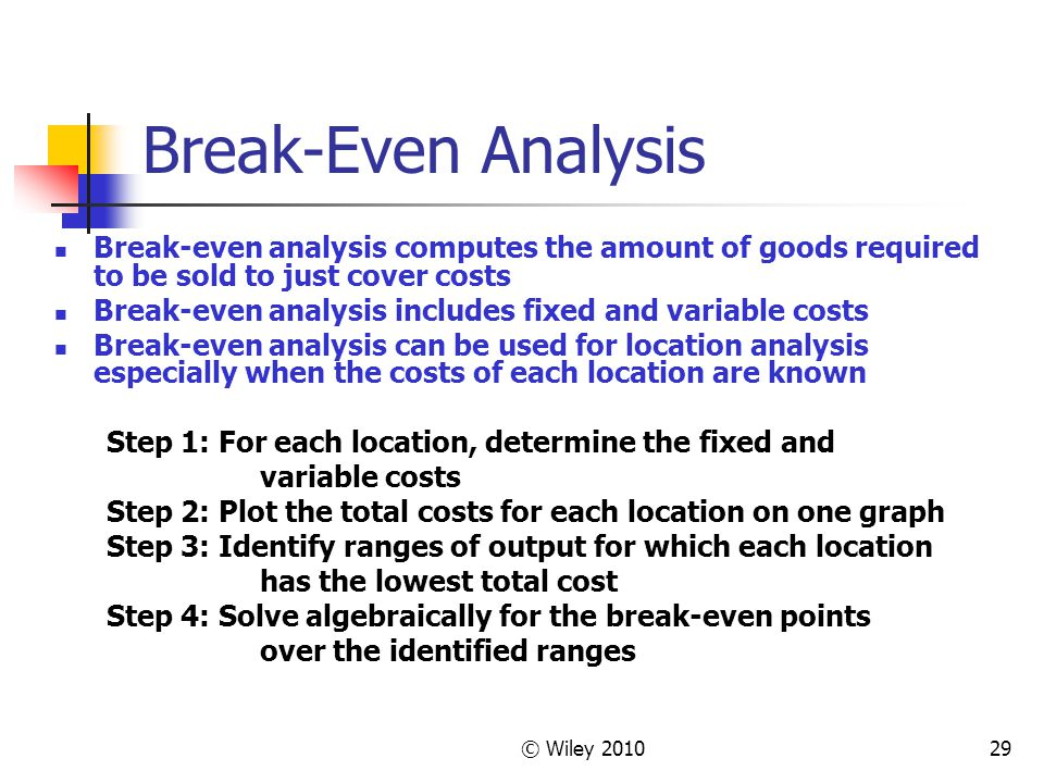 Break-Even Analysis Break-even analysis computes the amount of goods required to be sold to just cover costs.