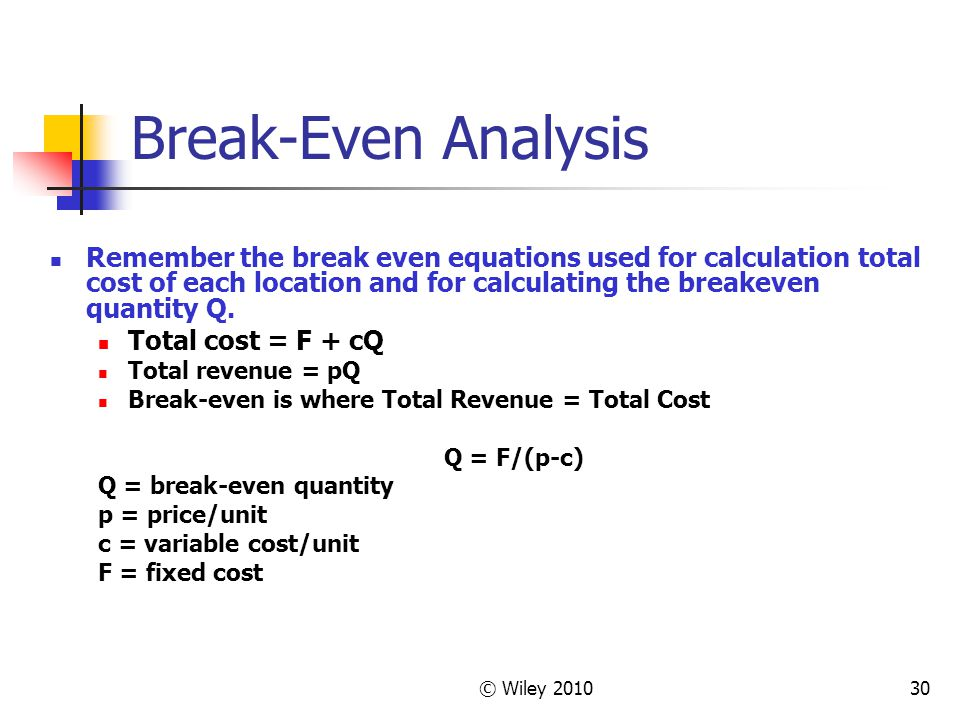 Break-Even Analysis Remember the break even equations used for calculation total cost of each location and for calculating the breakeven quantity Q.